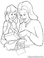 Gambar Ani Memberikan Hadiah Kepada Ibu Untuk Diwarnai