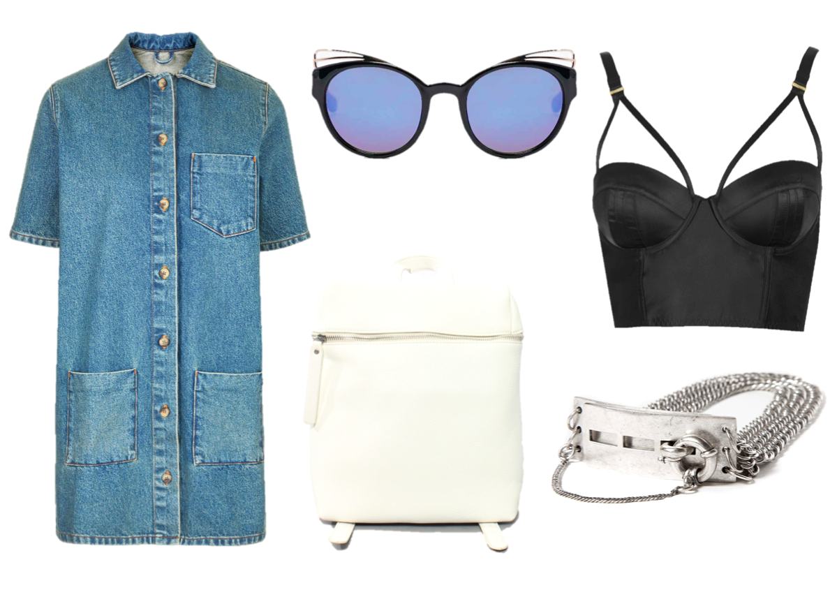 fashion, wish list, dress, cat eye sunglasses, bralet, unif, topshop