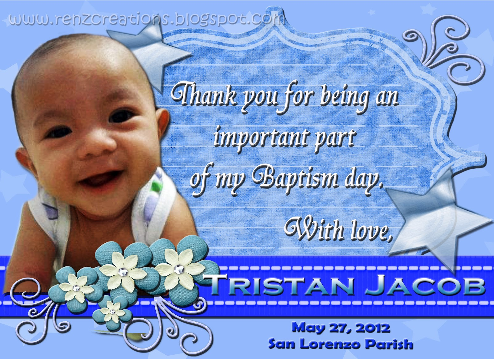 Renz creations invitations and giveaways tristan jacobs tristan jacobs christening giveaways kristyandbryce Choice Image