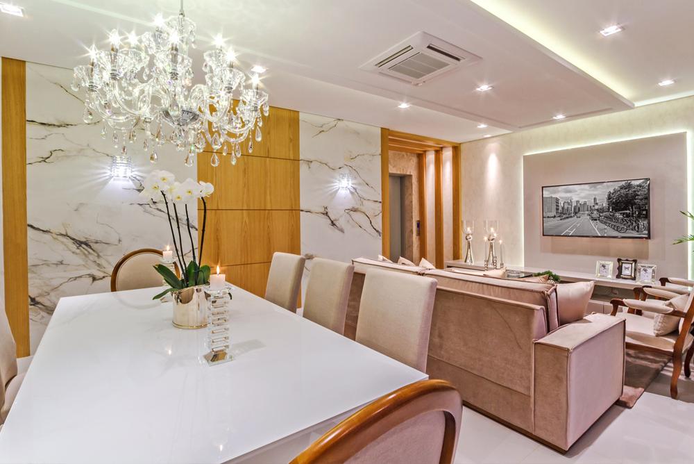 Sala Estar E Tv Integradas ~ Salas de tv e jantar integradas decoradas de cores neutras e detalhes