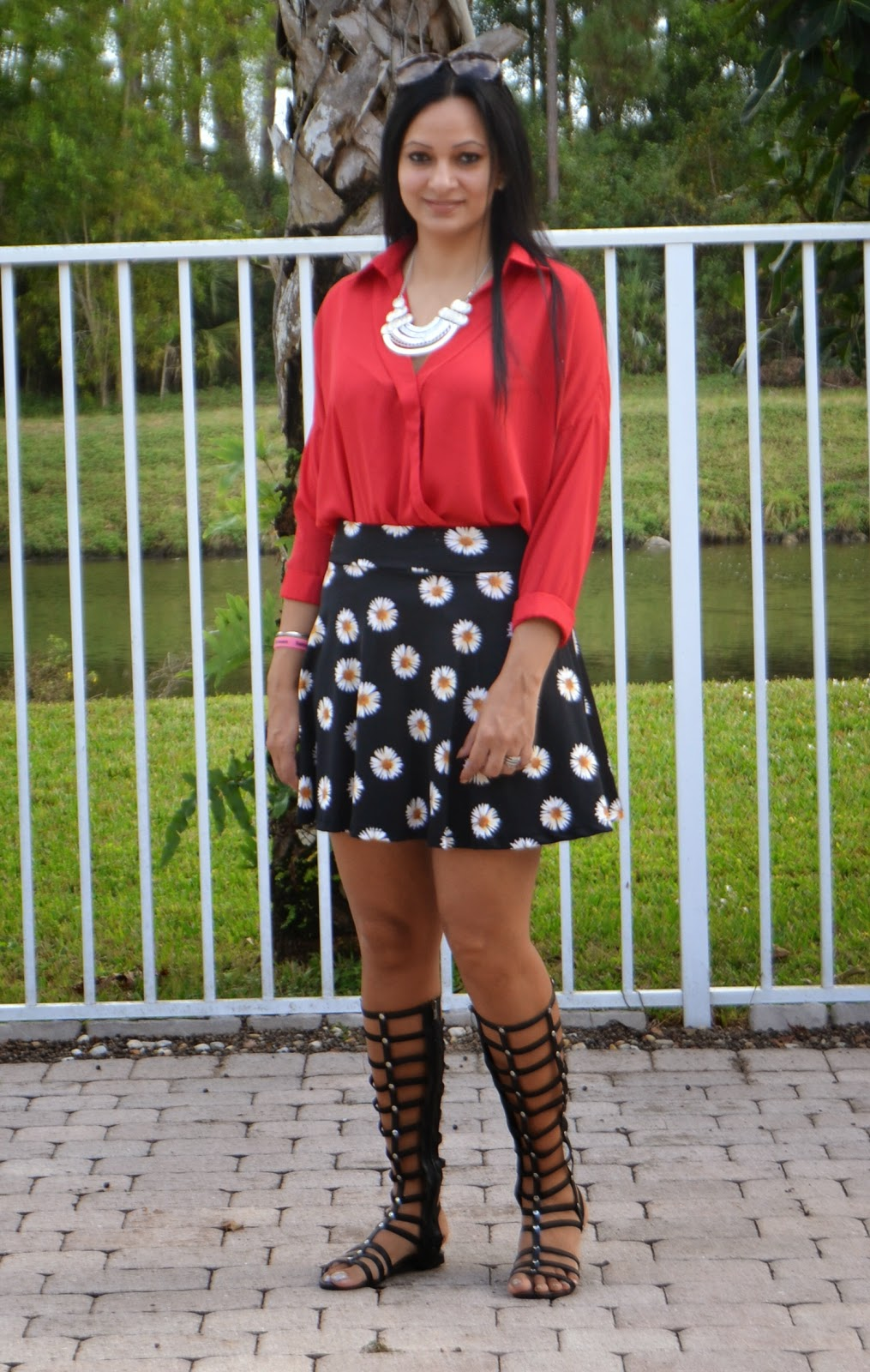 Asymmetrical V Neck Blouse Perfect For Your Valentines Day Outfit statement necklace skater skirt gladiator sandals www.sandysandhu.co