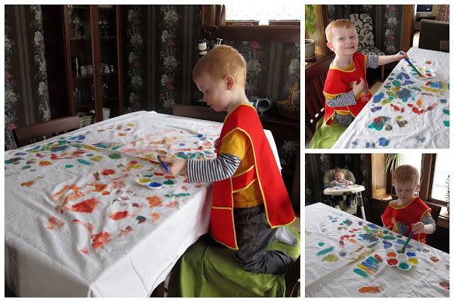 Painting in Daddy's Art Smock