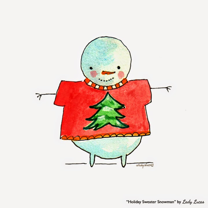 Holiday Sweater Snowman by Lady Lucas | #25DaysofSnowmen