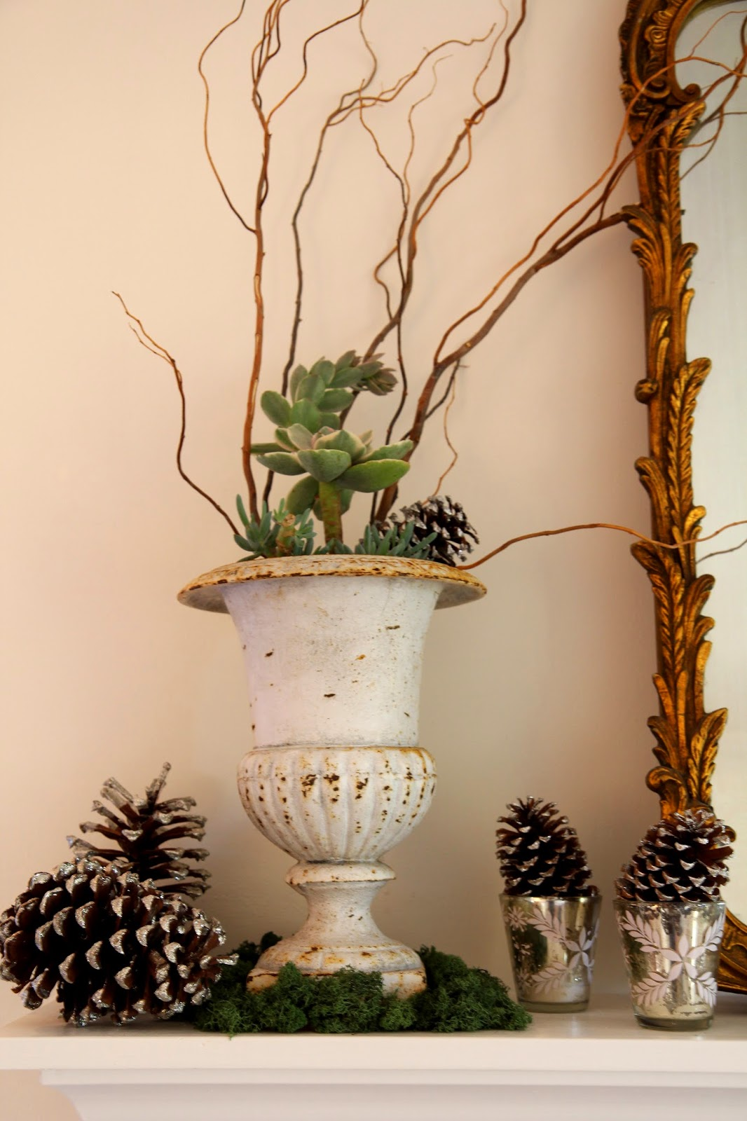 Cast Iron Urn and Glittered Pinecones