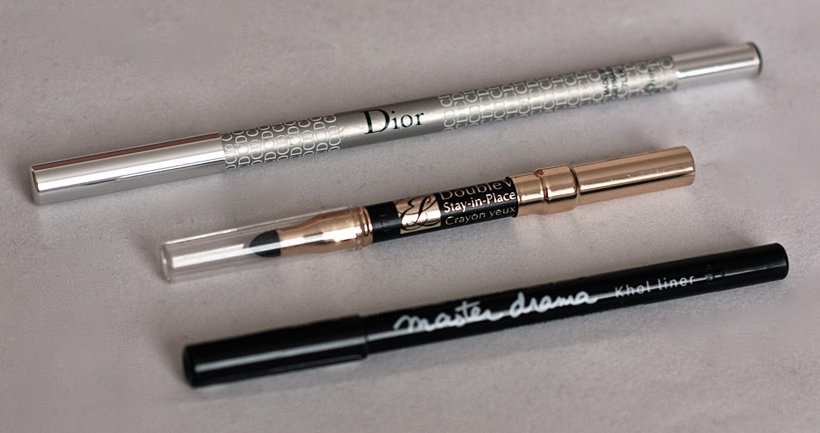 Dior, Estee Lauder and Maybelline eye liners