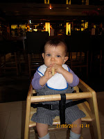 Son in high chair at St Pancras champagne bar