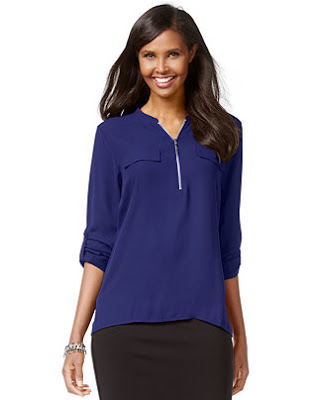 Zip-front utility blouse from Macy's