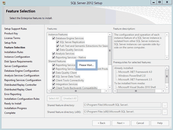 select SQL Server features to install