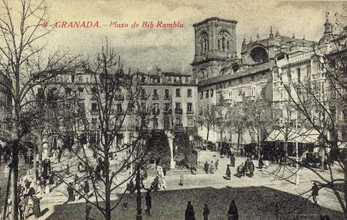 Postales antiguas de andaluc a plaza bib rambla granada - Parking plaza puerta real en granada ...