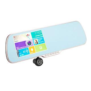 """Espejo retrovisor Android con pantalla táctil de 5"""",GPS, DVR y cámara trasera para vista en reversa y parqueo 3"""