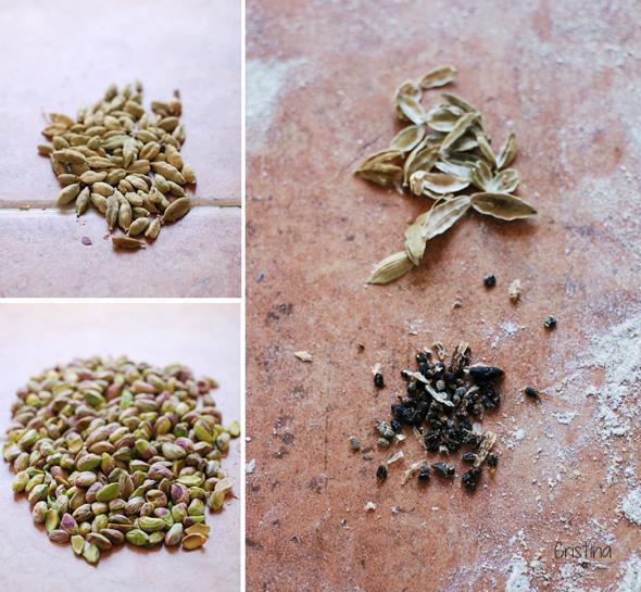 mosaico de pistachos y semillas de cardamomo cerradas y abiertas