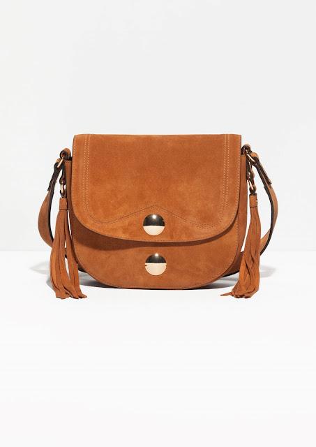 tan suede cross body bag, stories suede handbag,