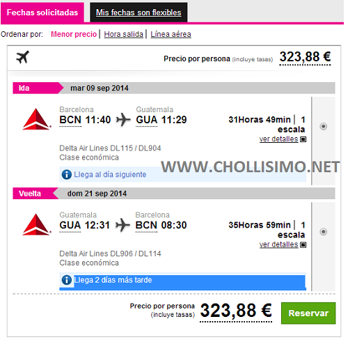 CHOLLO Barcelona - Guatemala 324€