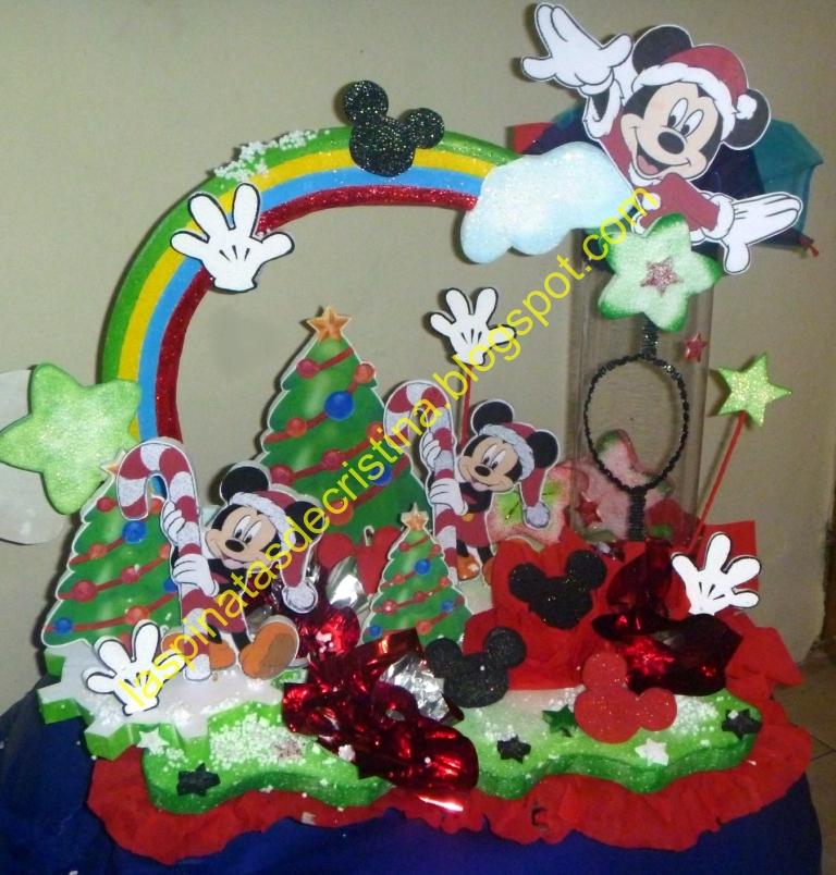 Piñata de Mickey Mouse Navideño (piñata y chupetera)