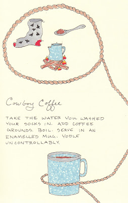 artist journal page cowboy coffee drawing
