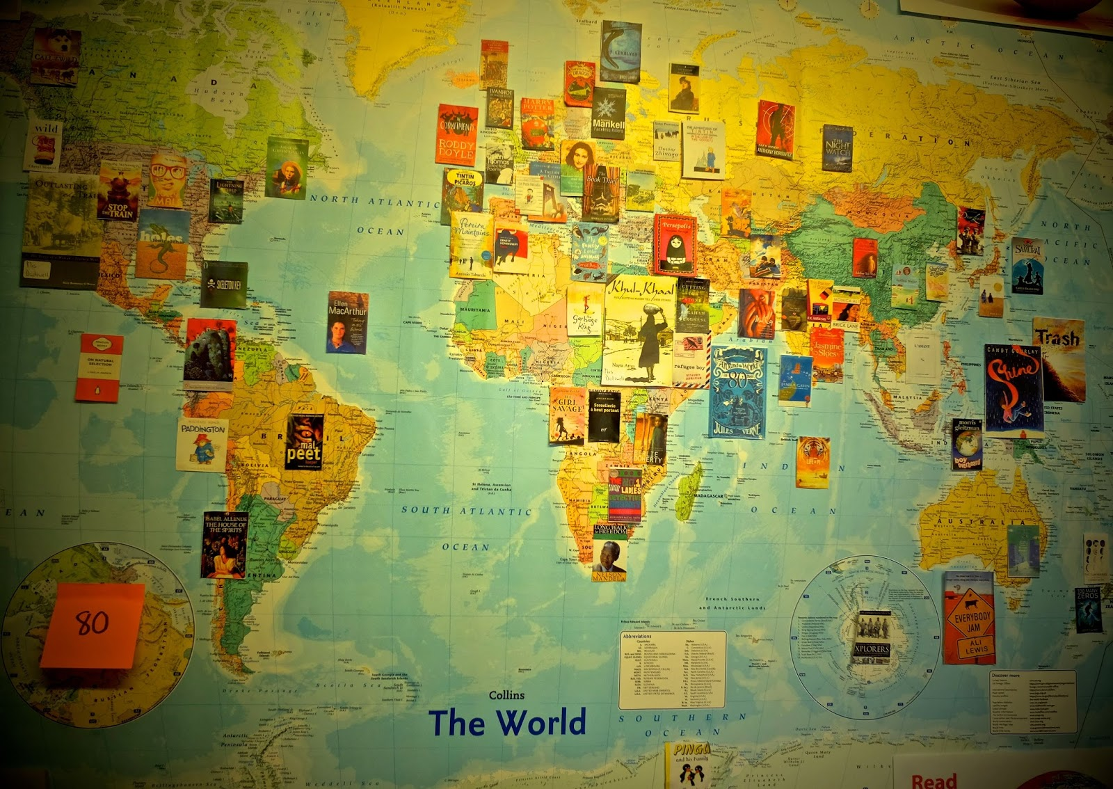 Thinking about the world in books candy gourlay latymers excellent world map of books click on the image to enlarge gumiabroncs Choice Image