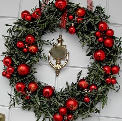 corona navidad roja abeto