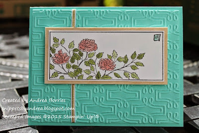 Card made with Oriental Paintings set, Tea Party embossing folder (Lifestyle Crafts) and Coastal Cabana, Blushing Bride and Pear Pizzazz.