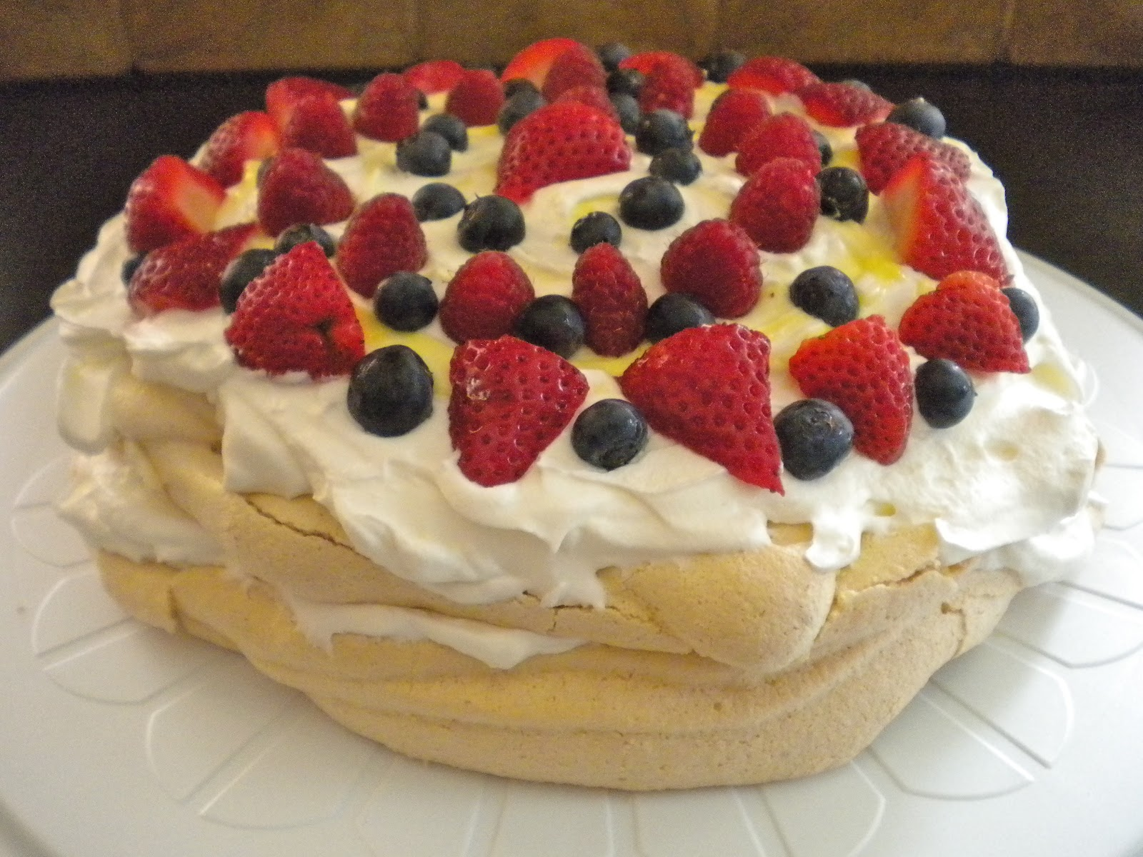 Berry Pavlova with Lemon Curd