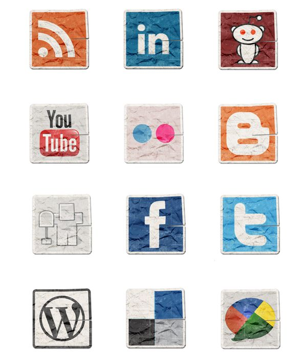 Free Grunge Vintage Social Media Icons Set