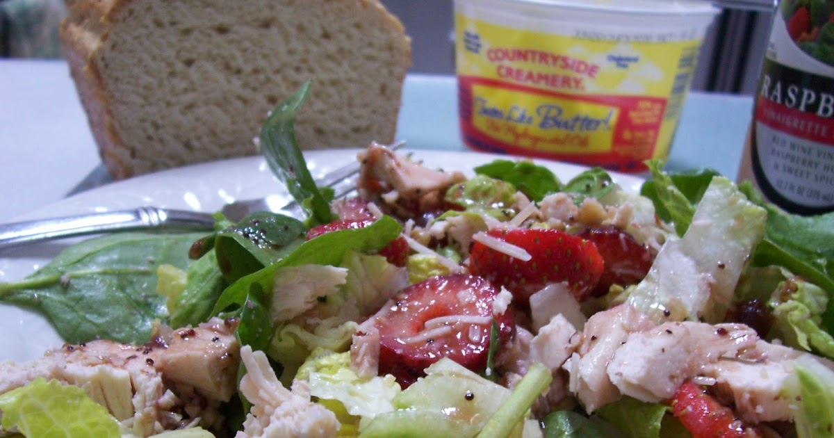Gluten Free Strawberry Chicken Spinach Salad With Dressing