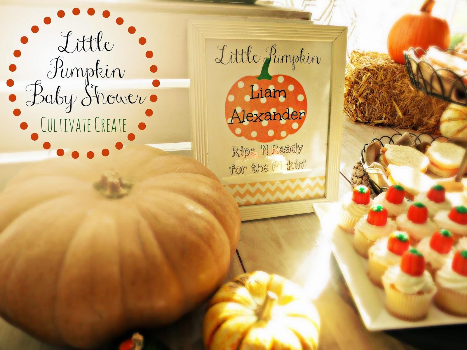 cultivate create little pumpkin baby shower
