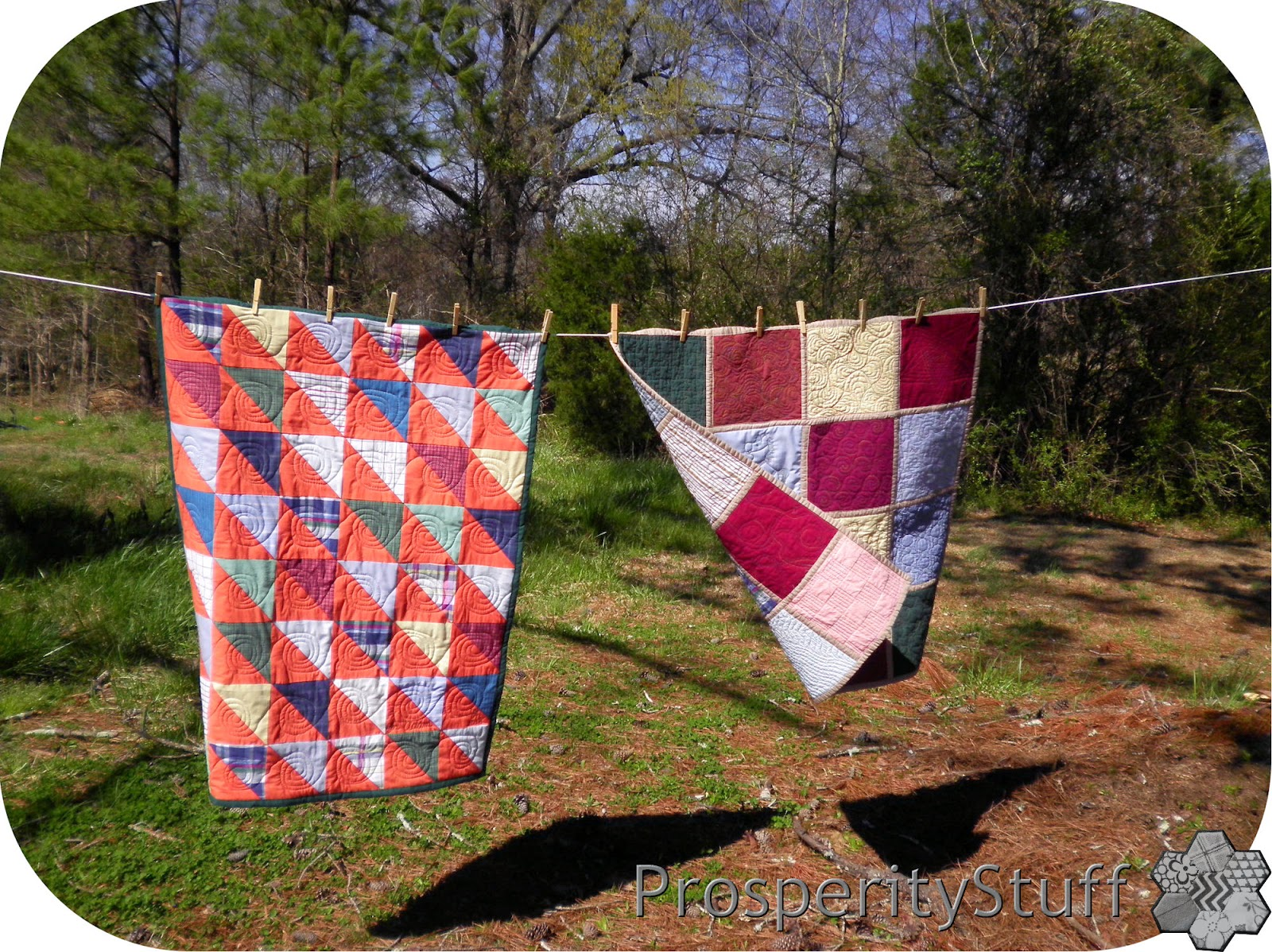 ProsperityStuff Shirt Quilts on Clothesline