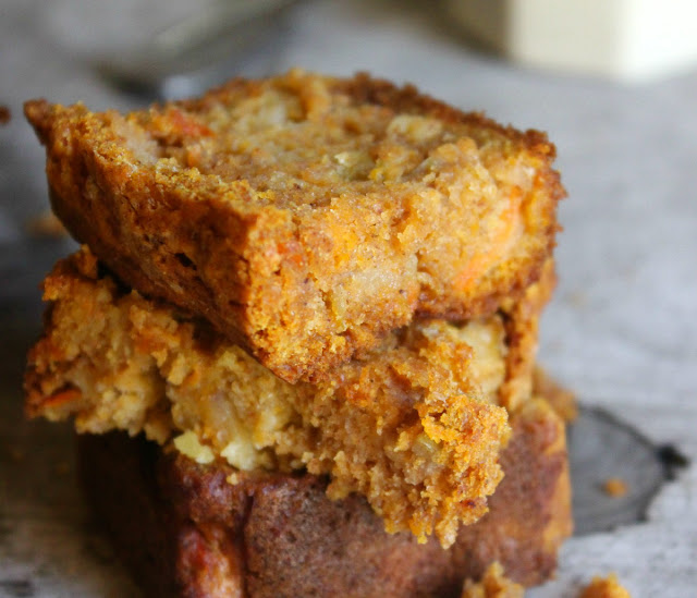 A hearty harvest loaf with pumpkin, apples and carrots. Sweetened only with maple syrup and using whole grain flours - the perfect fall treat!