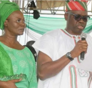 'DON'T HUNT FOR THE DOWNFALL OF MY HUSBAND'S GOVERNMENT'' EKITI STATE GOVERNOR, AYO FAYOSE'S WIFE WARNS POLITICIANS