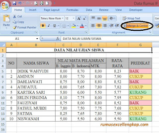 hasil pengaturan merge and center