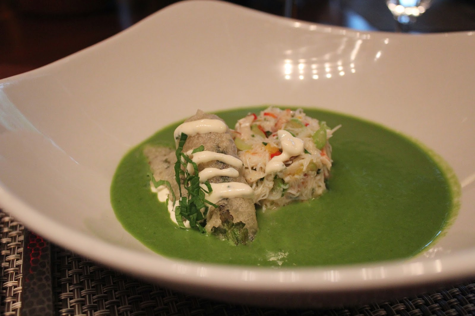 Chilled asparagus soup at Post 390, Boston, Mass.