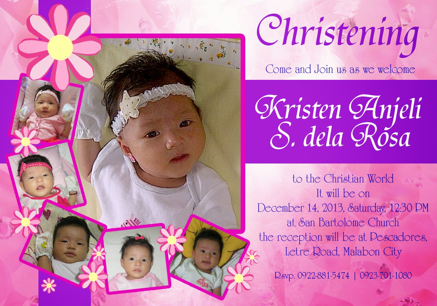 Otep's Portfolio: Christening invitation Card Design 01