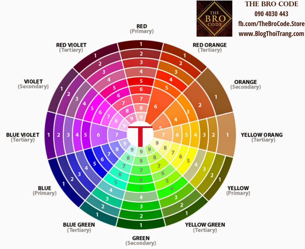 Sử dụng 3 dải màu sắc nằm ở vị trí chữ T trên bảng màu