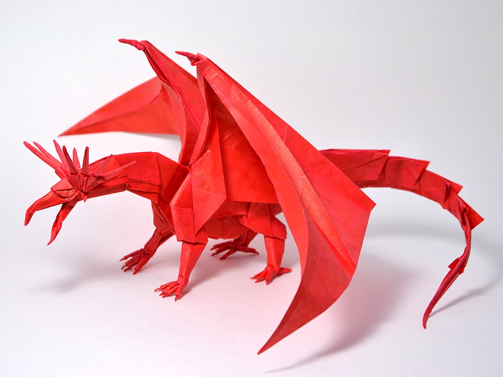Satoshi Kamiya himself recommends folding this model with a piece of    Origami Divine Dragon