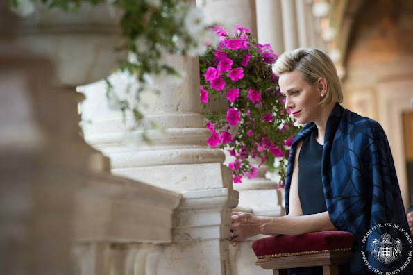 Princess Charlene of Monaco attended the celebrations of Corpus Christi from the Gallery of Hercules