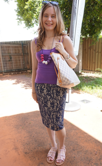 Blue and Purple lace & LV neverfull casual pencil skirt outfit