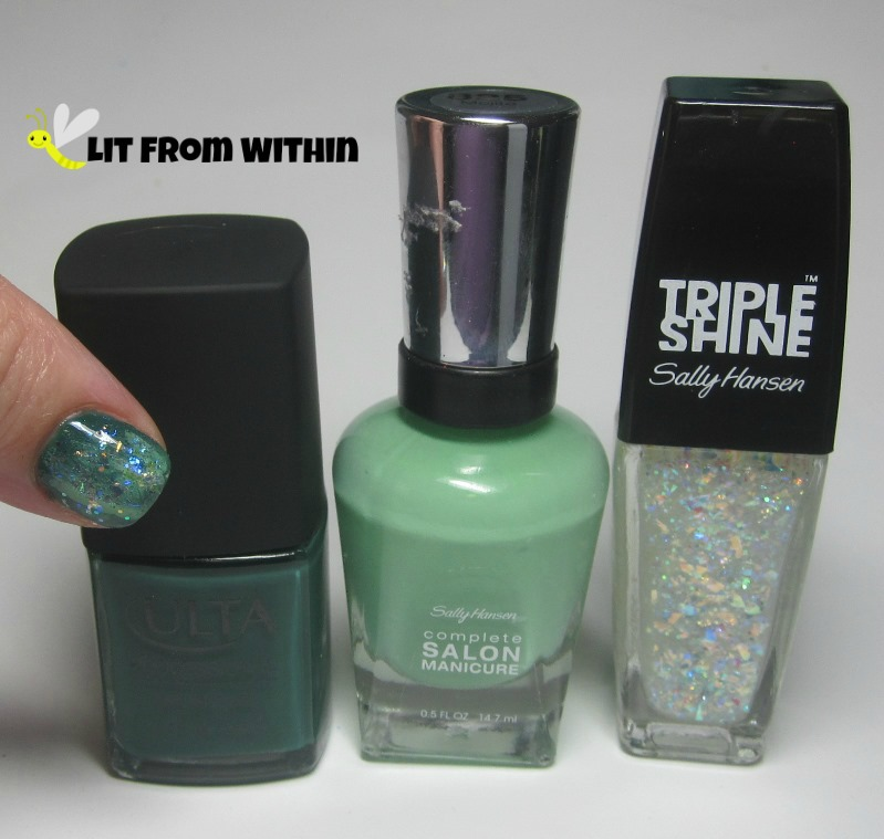 Bottle shot:  Ulta Green And Wear It, Sally Hansen Salon Mojito, and Sally Hansen Triple Shine Pearly Whites