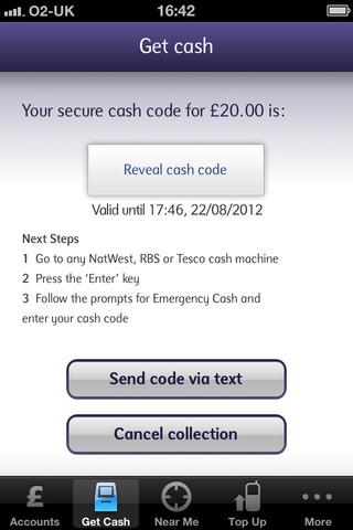 """Fonction """"Get Cash"""" sur mobile"""
