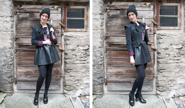leather skirt, veiled beanie, jacket with bow, melissa