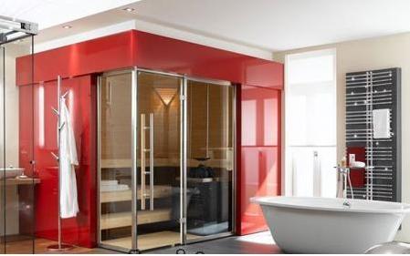 decoracion baño rojo