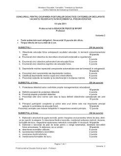 Subiecte titularizare educatie fizica 2011 (profesori)
