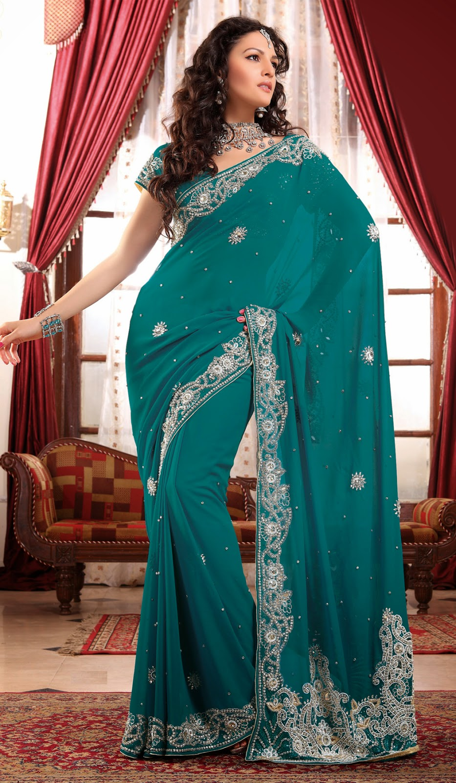 hot fashion pictures teal green georgette stylish indian