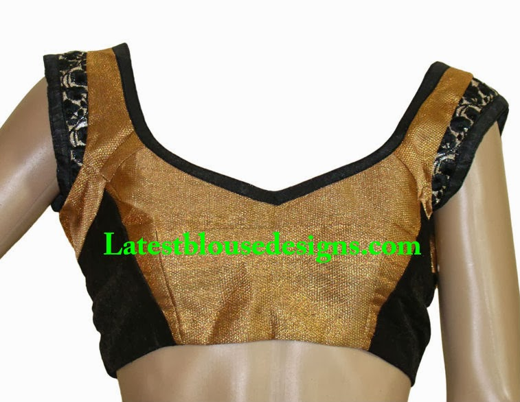Gold and Black Combination Blouse | Latest Blouse Designs