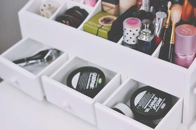 Drawers open in make up caddy organiser