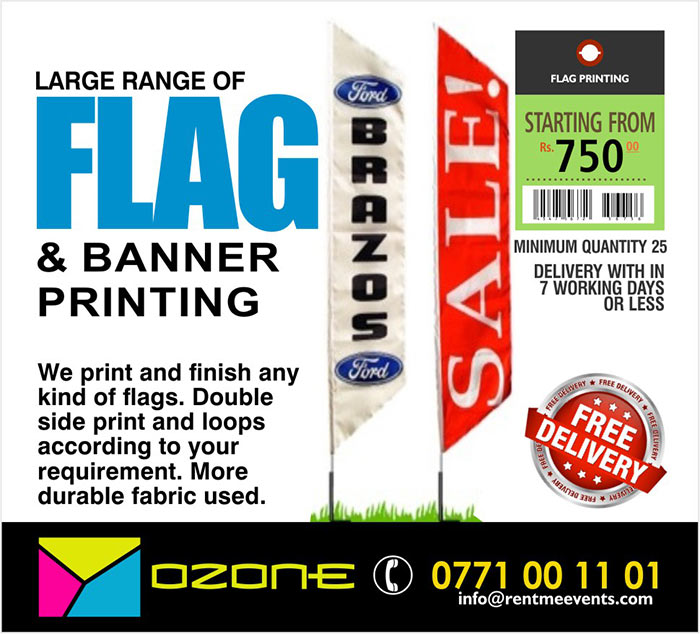 Starting from LKR 750/=.  Double side printing with more whinging fabrics.  Minimum order quantity 25 pcs.  Branded T-Shirt, Flag, Cap, Mug, ID, Letterhead, balloon, Visiting Card, Letter Covers, Pen, Diary or any thing to represent your brand under one online portal by 9 years experienced solution provider.  OZONE BRANDING