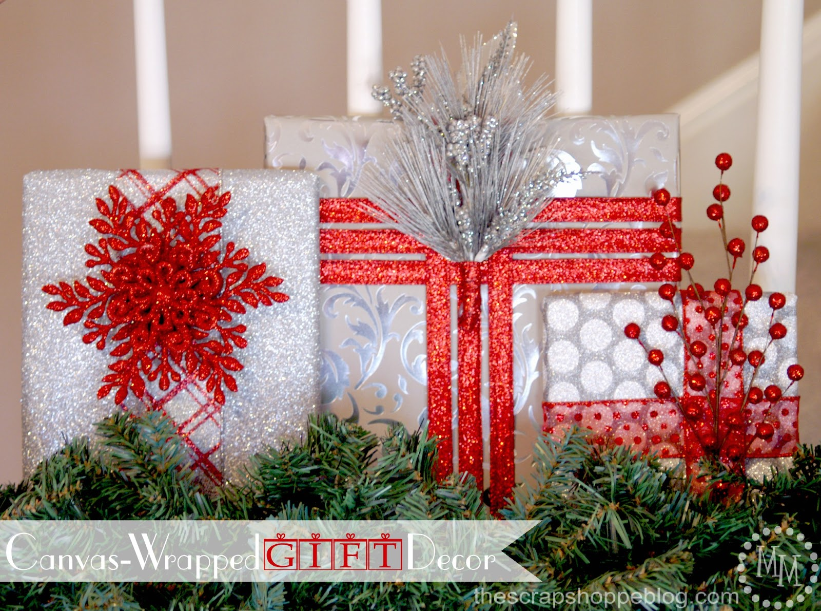 faux wrapped presents decorations - Christmas Gift Decorations