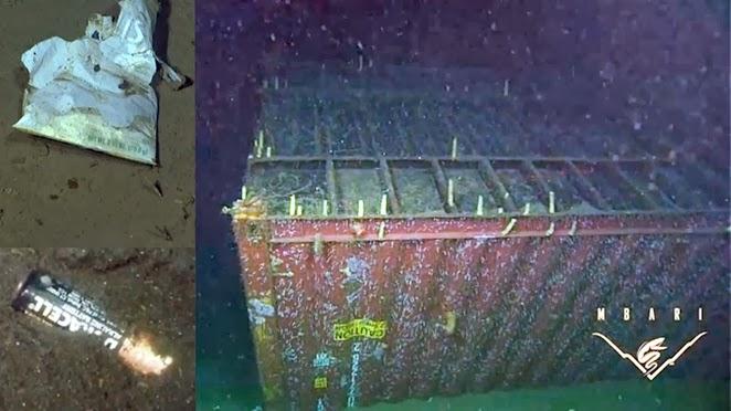 O fundo do mar está repleto de detritos. Crédito: MBARI