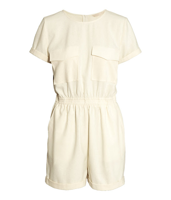 cream silk playsuit, silk playsuit, hm cream playsuit,