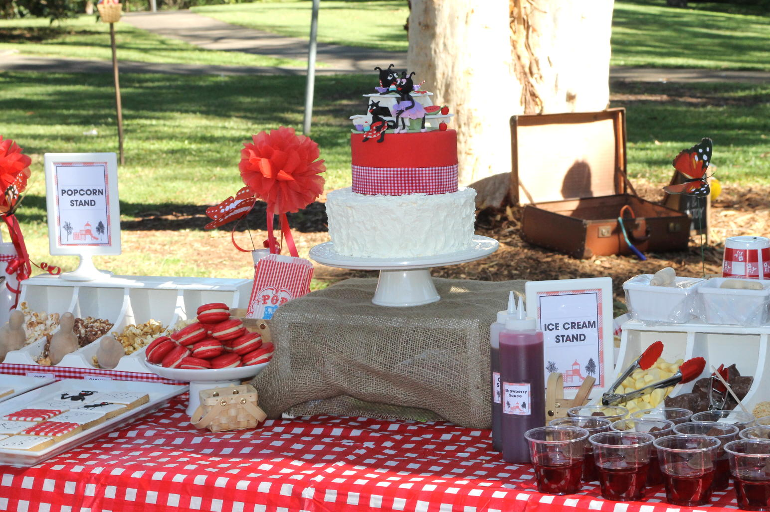 Bubble and sweet ant picnic in the park cake and cookies for Amusement park decoration ideas