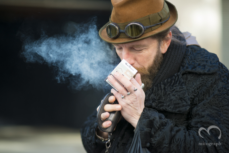 Diesel Black Gold Men Designer Roberto Lorenzi smoking Cigarette out side of New York Fashion Week 2014 Fall Winter Show During NYFW